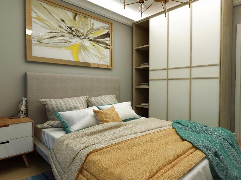 卧室彩色床美式风格装潢图片