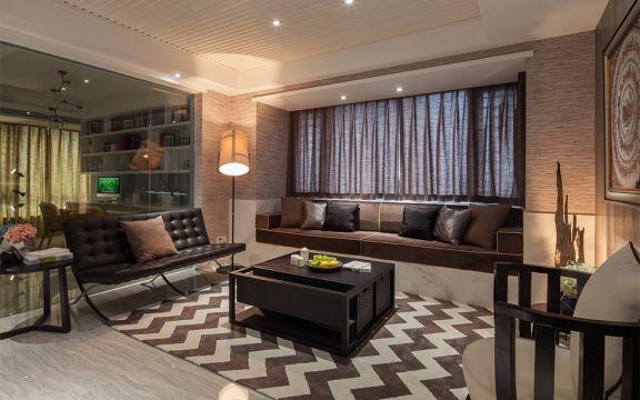 现代简约风格92平米三室两厅新房装修效果图