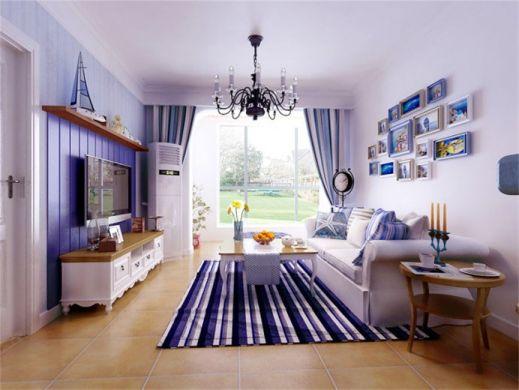 客厅蓝色窗帘地中海风格装饰图片