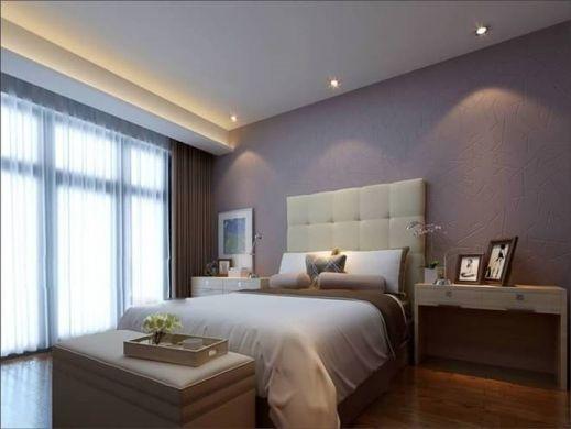 卧室灰色背景墙现代简约风格装修设计图片