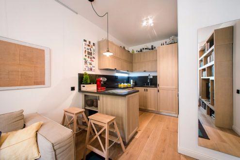 厨房橙色橱柜北欧风格装修效果图