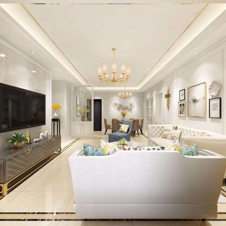 客厅白色沙发欧式风格装修设计图片