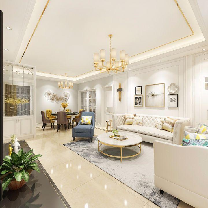 客厅白色茶几欧式风格装饰设计图片