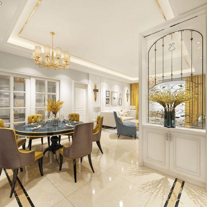餐厅白色地砖欧式风格装潢设计图片