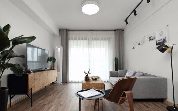 客厅灰色窗帘北欧风格装修效果图