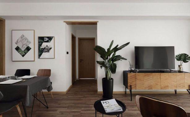 客厅咖啡色电视柜北欧风格装饰效果图