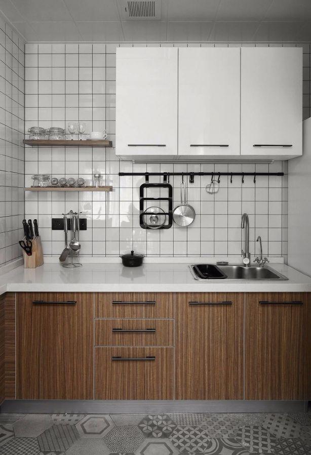 厨房咖啡色橱柜北欧风格装潢图片