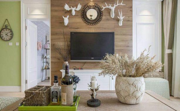 客厅咖啡色背景墙田园风格效果图