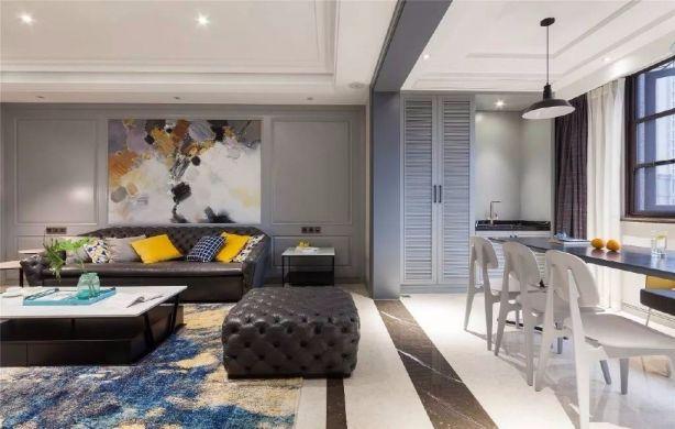 客厅灰色背景墙美式风格装潢图片