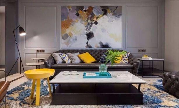 客厅黑色茶几美式风格装饰设计图片
