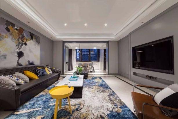 客厅黄色细节美式风格装潢设计图片