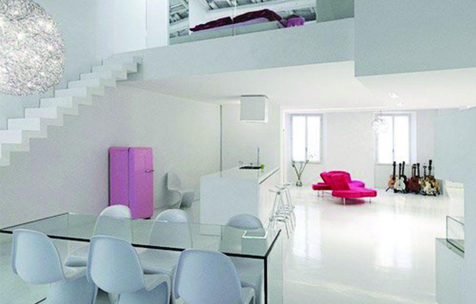 餐厅白色餐桌现代简约风格装潢设计图片