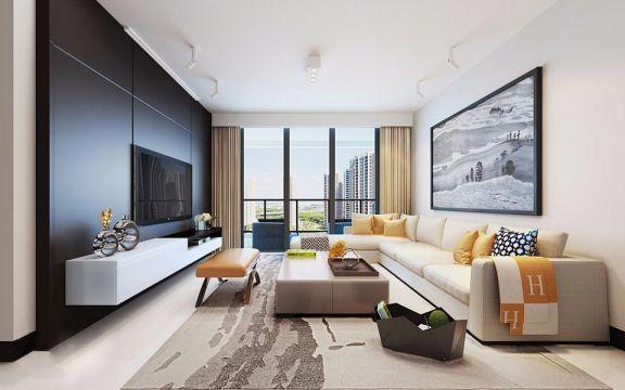现代简约风格102平米两室两厅新房装修效果图