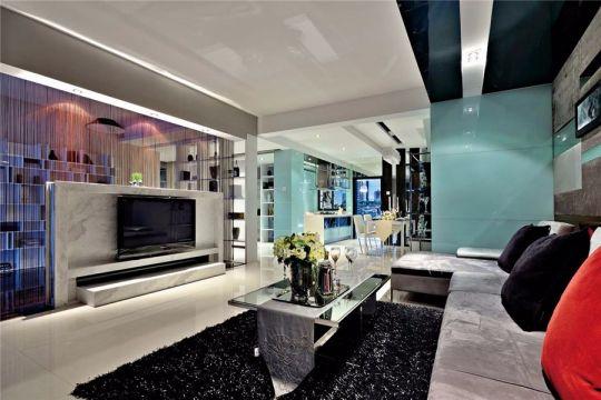 客厅黑色茶几现代风格装饰效果图
