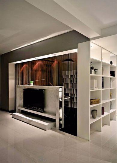 客厅白色地砖现代风格装潢效果图