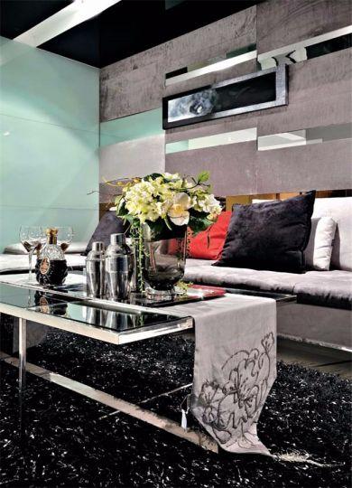 客厅黑色茶几现代风格装饰图片