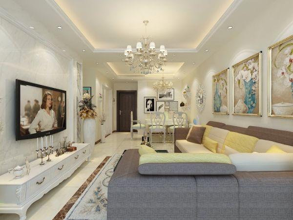 简欧风格105平米三室两厅新房装修效果图