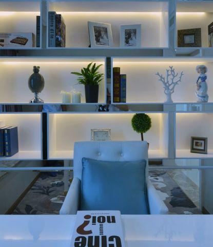 简洁书房书桌装潢实景图片