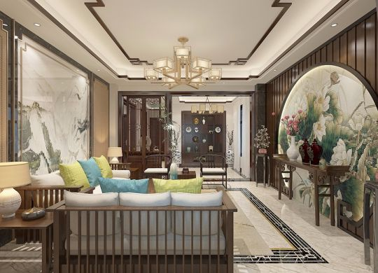中式风格267平米别墅新房装修效果图