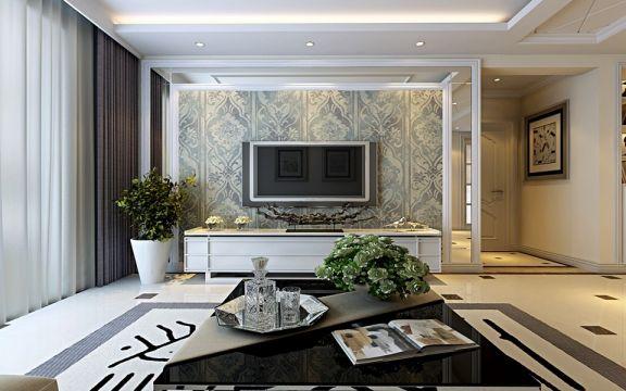 海尔时代广场120平简欧风格套三双卫三居室效果图