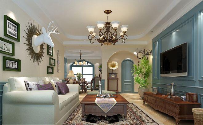 地中海风格115平米三室两厅新房装修效果图