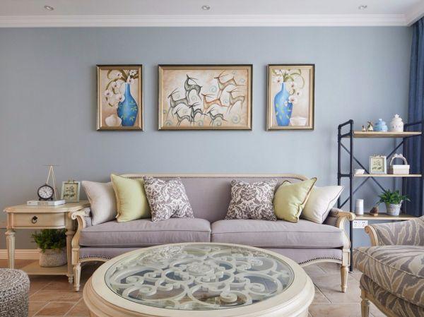 客厅米色沙发美式风格装饰图片