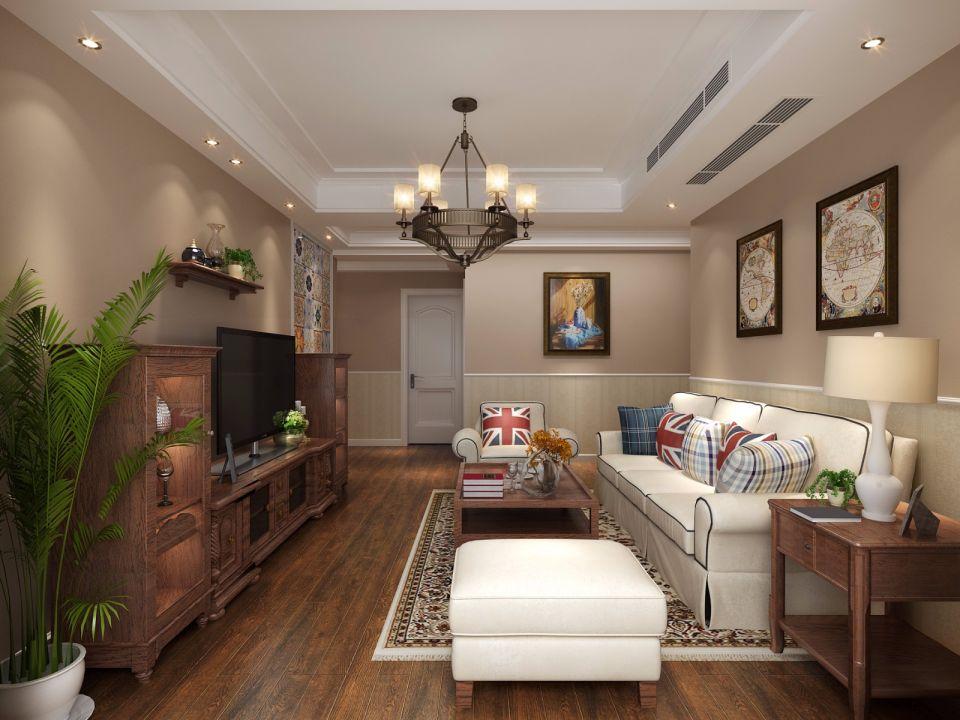 美式风格118平米三室两厅新房装修效果图