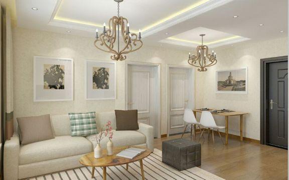 现代简约风格45平米一居室新房装修效果图