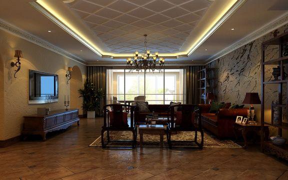 140平米复式三居室美式风格装修效果图