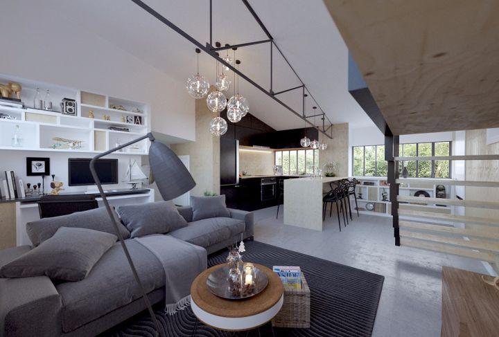 78平北欧风格2房2厅1卫房装修效果图
