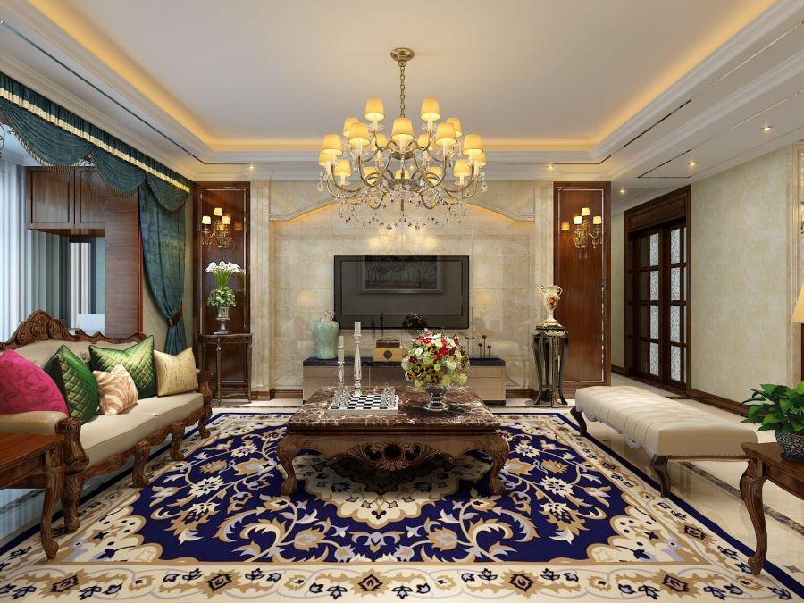 新中式风格140平米四室两厅新房装修效果图