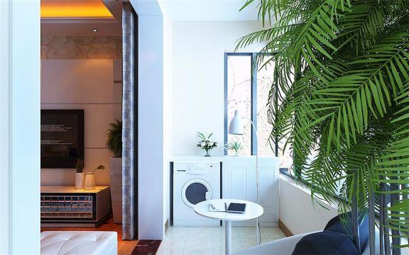 阳台地砖现代简约风格装潢图片