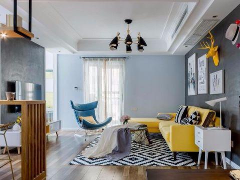 110方工业风格两居室装修效果图