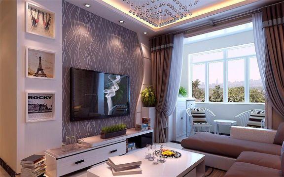 客厅白色电视柜现代简约风格装潢设计图片