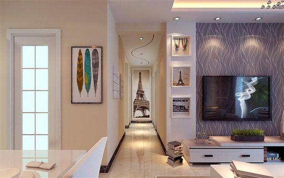 客厅白色电视柜现代简约风格装潢效果图