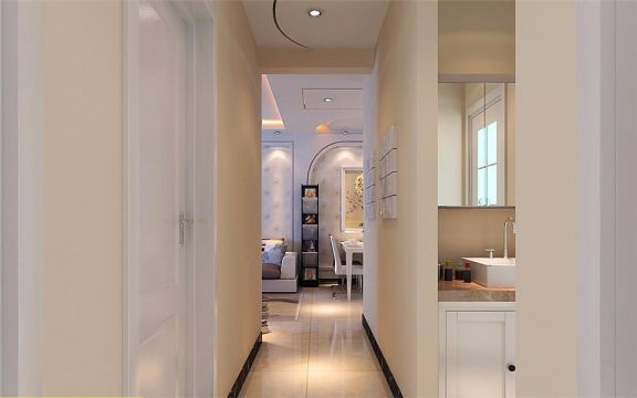 卫生间白色洗漱台现代简约风格装饰效果图