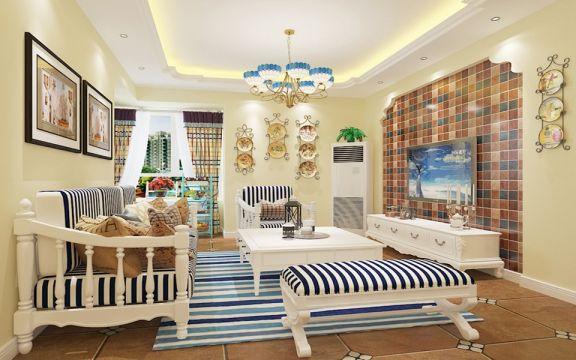 110平米田园设计风格三居室装修效果图