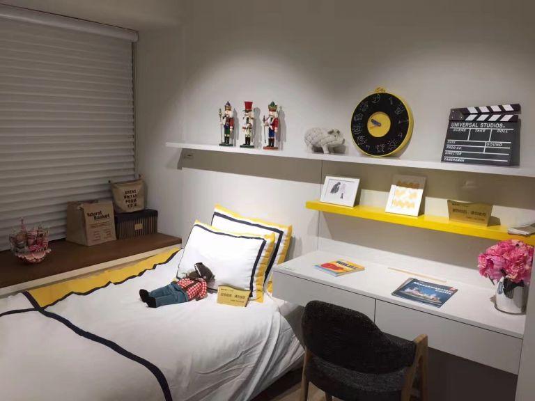 儿童房白色书桌北欧风格装潢效果图