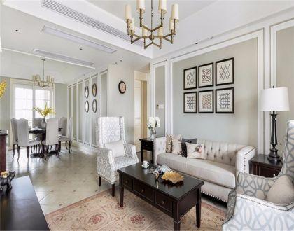 客厅黄色灯具美式风格装潢效果图