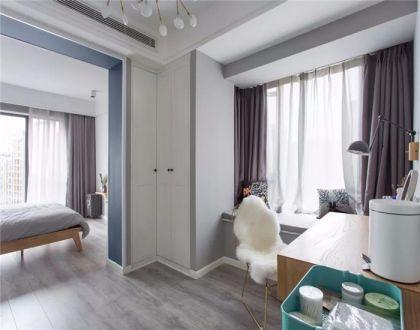 卧室黄色书桌北欧风格装饰设计图片