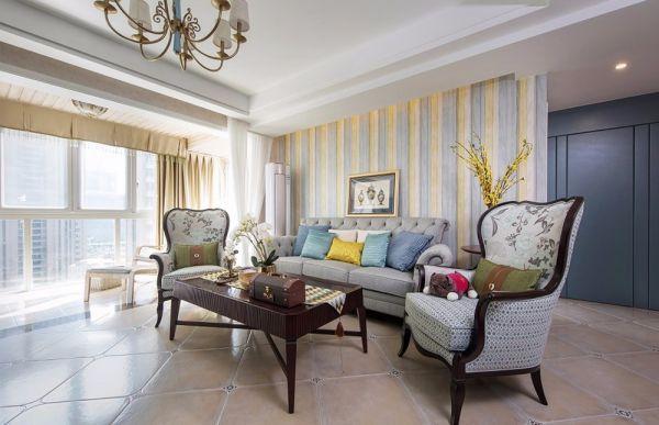 客厅咖啡色茶几混搭风格装饰效果图