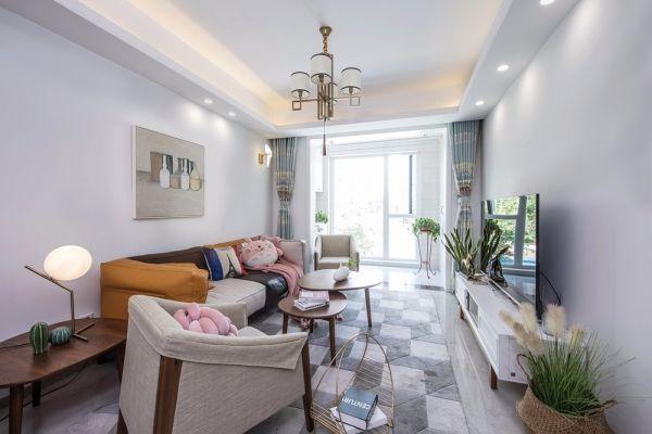 客厅橙色沙发现代简约风格装潢设计图片