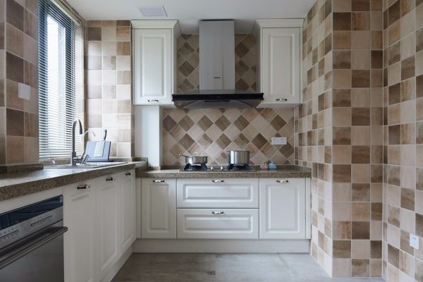 厨房米色背景墙美式风格装饰图片