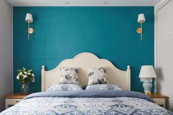 卧室米色背景墙美式风格装潢图片