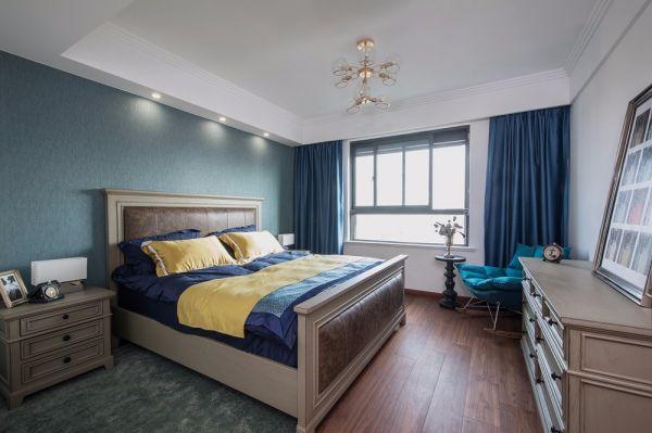 卧室蓝色窗帘混搭风格装修图片