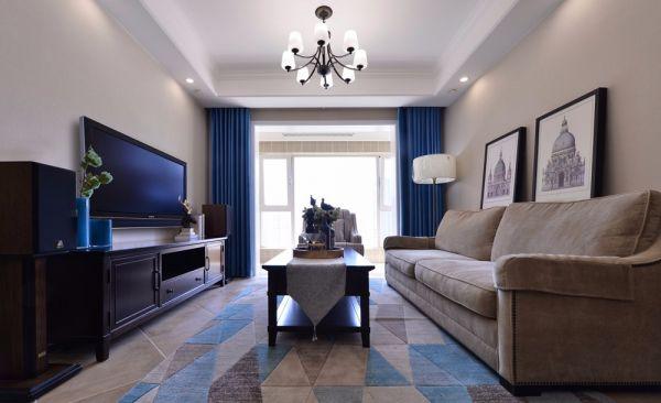 客厅蓝色窗帘美式风格装潢图片