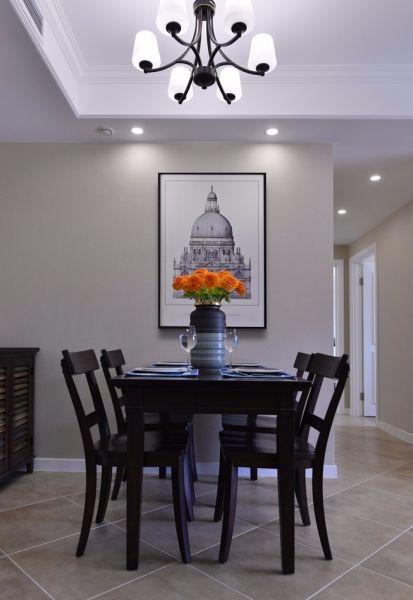 餐厅白色吊顶美式风格装修设计图片