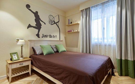 卧室白色床地中海风格装修设计图片