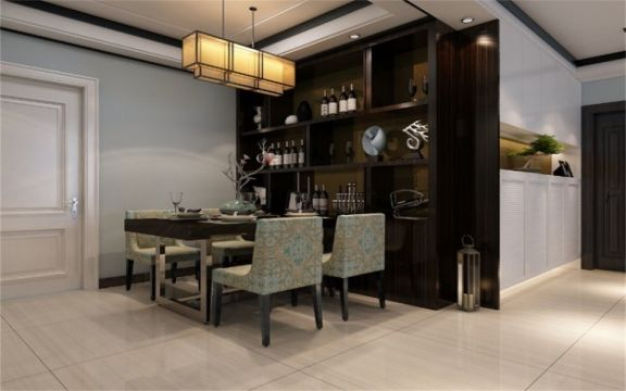 餐厅黑色餐桌新中式风格装潢效果图