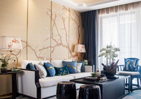 客厅米色背景墙新中式风格装修设计图片